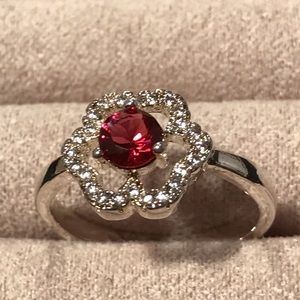 925 Silver Ruby in White Gold Setting Size 7 1/2